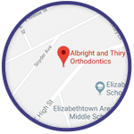 Map Graphic Albright & Thiry Orthodontics Lancaster Manheim Elizabethtown Willow Street Quarryville PA